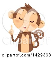 Clipart Of A Cute Monkey Counting 1 On His Fingers Royalty Free Vector Illustration