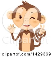 Clipart Of A Cute Monkey Counting 7 On His Fingers Royalty Free Vector Illustration