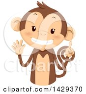 Clipart Of A Cute Monkey Counting 6 On His Fingers Royalty Free Vector Illustration