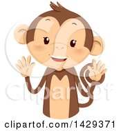 Clipart Of A Cute Monkey Counting 10 On His Fingers Royalty Free Vector Illustration
