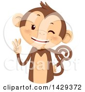 Clipart Of A Cute Monkey Counting 3 On His Fingers Royalty Free Vector Illustration