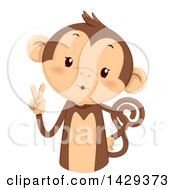 Clipart Of A Cute Monkey Counting 2 On His Fingers Royalty Free Vector Illustration