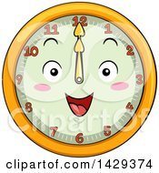 Clipart Of A Happy Clock Character Showing 12 Royalty Free Vector Illustration