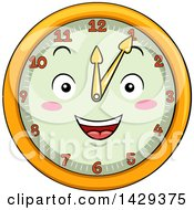 Clipart Of A Happy Clock Character Showing 1 Royalty Free Vector Illustration