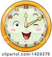 Clipart Of A Happy Clock Character Showing 2 Royalty Free Vector Illustration