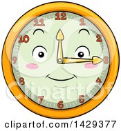 Clipart Of A Happy Clock Character Showing 3 Royalty Free Vector Illustration