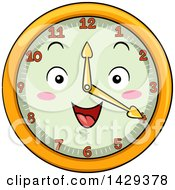 Clipart Of A Happy Clock Character Showing 4 Royalty Free Vector Illustration
