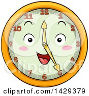 Clipart Of A Happy Clock Character Showing 5 Royalty Free Vector Illustration