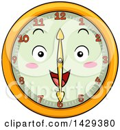 Clipart Of A Happy Clock Character Showing 6 Royalty Free Vector Illustration