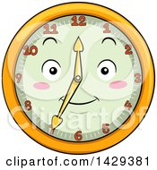 Clipart Of A Happy Clock Character Showing 7 Royalty Free Vector Illustration