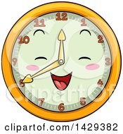 Clipart Of A Happy Clock Character Showing 8 Royalty Free Vector Illustration