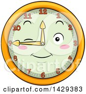 Clipart Of A Happy Clock Character Showing 9 Royalty Free Vector Illustration