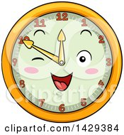 Clipart Of A Happy Clock Character Showing 10 Royalty Free Vector Illustration