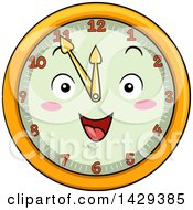 Clipart Of A Happy Clock Character Showing 11 Royalty Free Vector Illustration