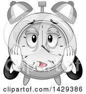Cartoon Exhausted Alarm Clock Character