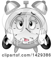 Clipart Of A Cartoon Exhausted Alarm Clock Character Royalty Free Vector Illustration