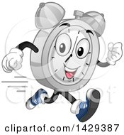 Clipart Of A Cartoon Alarm Clock Character Running Royalty Free Vector Illustration