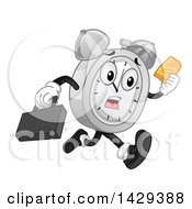 Clipart Of A Cartoon Alarm Clock Character Running Late And Holding A Hand Pie Royalty Free Vector Illustration