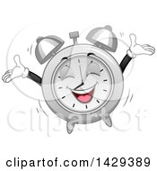 Clipart Of A Cartoon Alarm Clock Character Jumping At Wake Up Time Royalty Free Vector Illustration