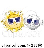 Clipart Of Happy Moon And Sun Characters Wearing Solar Eclipse Glasses Royalty Free Vector Illustration by BNP Design Studio