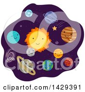 Clipart Of Happy Planets In The Solar System Royalty Free Vector Illustration
