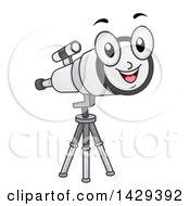 Happy Telescope Mascot On A Tripod