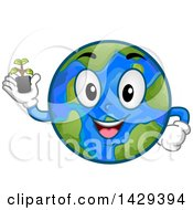 Clipart Of A Cartoon Happy Planet Earth Mascot Holding A Seedling Plant Royalty Free Vector Illustration