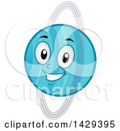 Clipart Of A Cartoon Happy Planet Uranus Mascot Royalty Free Vector Illustration