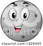 Clipart Of A Cartoon Happy Moon Mascot Royalty Free Vector Illustration