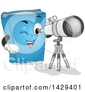 Clipart Of A Blue Astronomy Book Mascot Looking Through A Telescope Royalty Free Vector Illustration