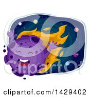 Clipart Of A Happy Blazing Meteor Mascot Royalty Free Vector Illustration