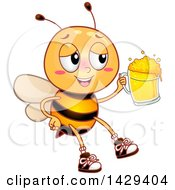 Clipart Of A Drunk Bee Holding A Beer Mug Royalty Free Vector Illustration by BNP Design Studio
