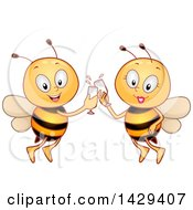 Clipart Of A Bee Couple Toasting With Wine Royalty Free Vector Illustration
