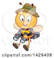 Clipart Of A Safari Bee Holding Binoculars Royalty Free Vector Illustration