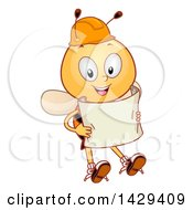 Clipart Of A Happy Worker Bee Wearing A Hardhat And Holding Blueprints Royalty Free Vector Illustration