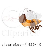 Clipart Of A Bee Following A Sweet Smell Royalty Free Vector Illustration