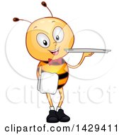 Clipart Of A Happy Waiter Bee Holding A Platter Royalty Free Vector Illustration by BNP Design Studio