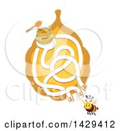 Clipart Of A Bee And Honey Maze Royalty Free Vector Illustration