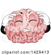 Clipart Of A Brain Mascot Character With A Migraine Royalty Free Vector Illustration