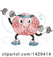 Brain Mascot Character Working Out With Dumbbells