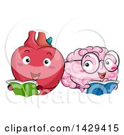 Clipart Of Heart And Brain Mascots Reading Books Royalty Free Vector Illustration by BNP Design Studio