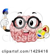 Clipart Of A Brain Mascot Wearing Glasses Holding A Paint Brush And Palette Royalty Free Vector Illustration