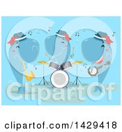 Clipart Of A Band Of Whales Playing A Horn Drums And Banjo Royalty Free Vector Illustration