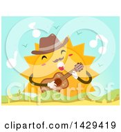 Clipart Of A Sun Character Wearing A Fedora Hat Playing A Guitar And Singing Over Hills Royalty Free Vector Illustration