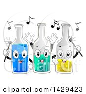 Glass Bottle Mascots Filled With Colorful Liquid Tapping Themslves To Make Music
