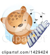 Clipart Of A Cute Cheetah Playing A Xylophone Royalty Free Vector Illustration