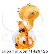 Clipart Of A Cute Giraffe Playing A Tuba Royalty Free Vector Illustration by BNP Design Studio