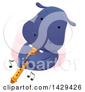 Clipart Of A Cute Hippopotamus Playing A Flute Royalty Free Vector Illustration