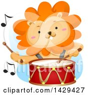 Clipart Of A Male Lion Drummer Royalty Free Vector Illustration by BNP Design Studio