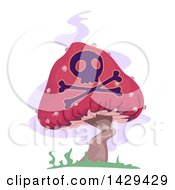 Poster, Art Print Of Poisonous Mushroom With A Skull And Cross Bones